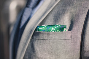 tribal floral green silk pocket square geometric diamonds foundation menswear gray suit