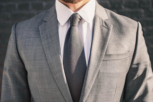 gray knit tie foundation menswear suit