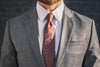 brown floral silk twill tie foundation menswear gray suit