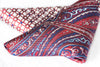 Red paisley silk pocket square geometric pattern