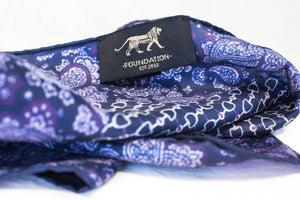 silk pocket square Purple micro chain pattern purple paisley foundation menswear