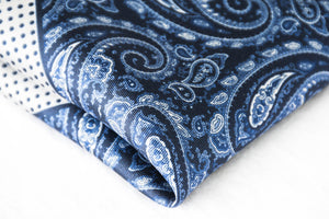 Navy Paisley silk pocket square blue polka dots white border foundation menswear