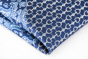 Navy silk pocket square micro chain pattern light blue paisley foundation menswear