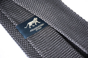 gray knit tie logo foundation menswear