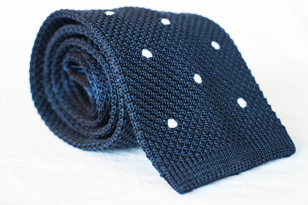 silk navy dot knit tie square foundation menswear