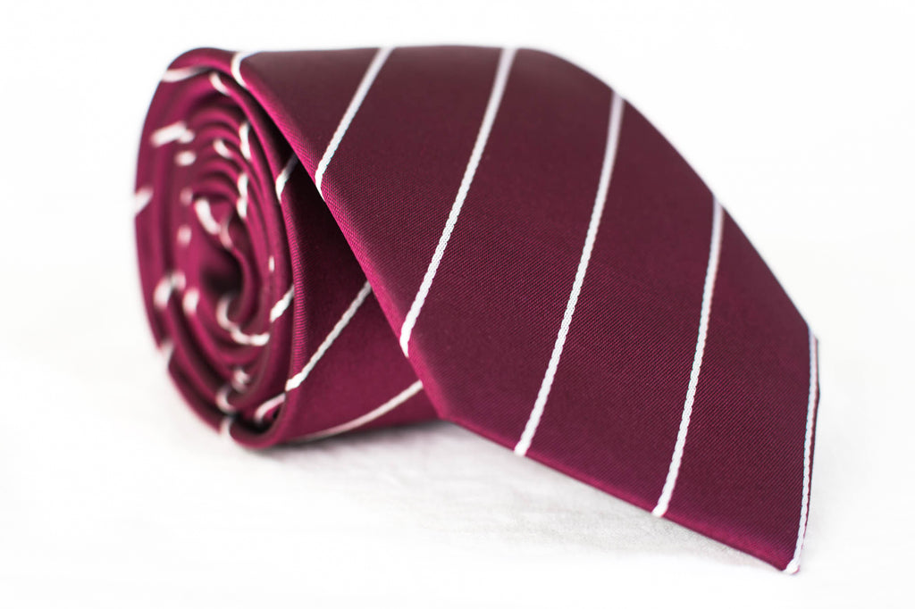 burgundy silk woven stripe tie foundation menswear