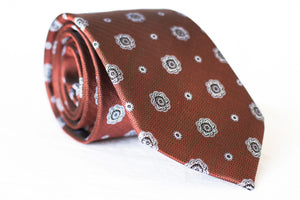 brown medallion woven silk tie foundation menswear