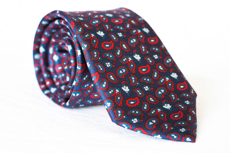 navy red paisley silk tie foundation menswear