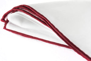 white cotton pocket square burgundy tip