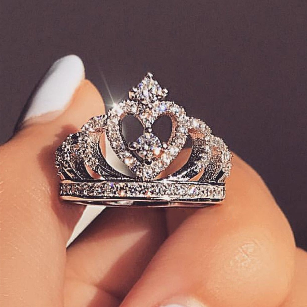 Princess Heart Crown Ring