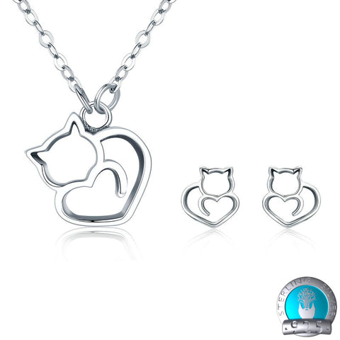 925 Sterling Silver Jewelry Set - Lovely Pussycat Necklace & Earrings