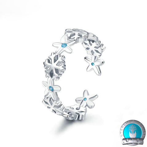 925 Sterling Silver Snowflake Ring