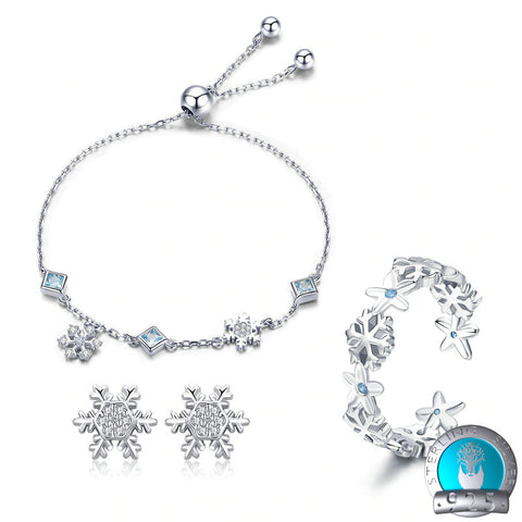 925 Sterling Silver Jewelry Set - Snowflake Bracelet & Ring & Earrings