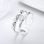 925 Sterling Silver Ring With Crystals - Heart to Heart