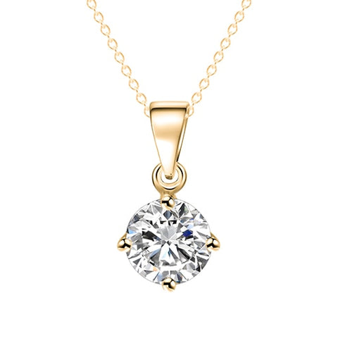 Round Shape Cubic Zirconia Crystal Pendant Necklace