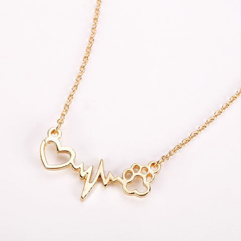 Cute Dog Paw and Heart Pendant Necklace