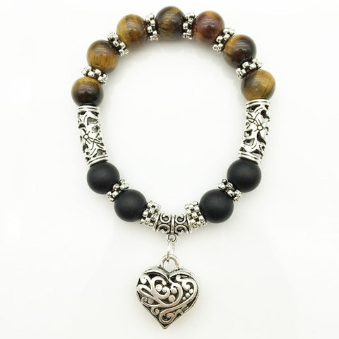 Tiger Eye Beads Bracelet with Heart Charm