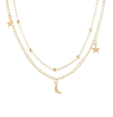 Moon and Stars Chocker Necklace - Gold or Silver Plated