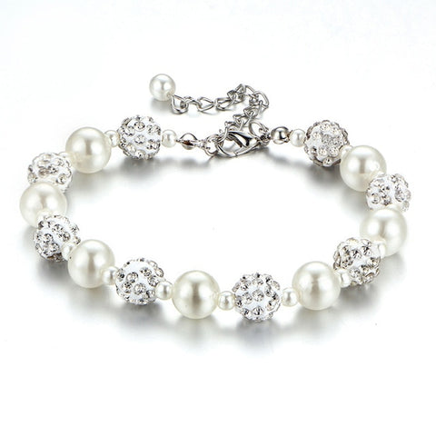 Elegant Rhinestone and Pearls Bracelet with Pendant