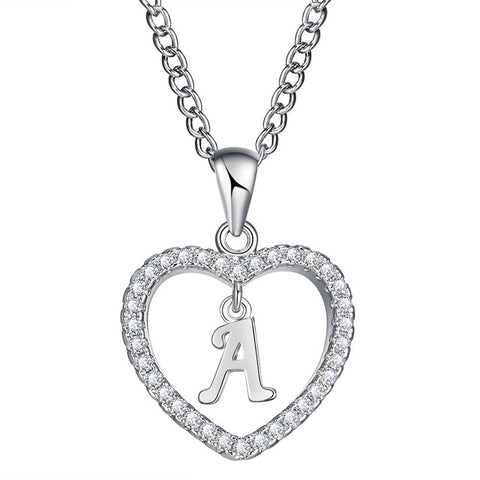 Silver plated initial letter in heart shaped pendant necklace