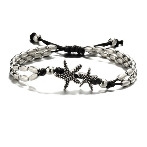 Silver plated Starfish with Beads Anklet