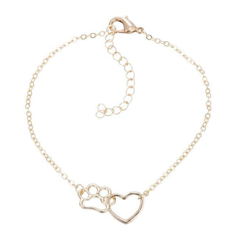 Cute Paw and Heart Pendant Bracelet