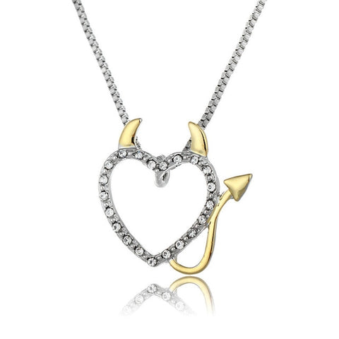 Gold and Silver Plated Devil Heart Pendant Necklace