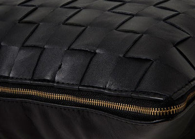Woven Black Leather Cushion