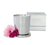 Pink flowers silver candle | Domain Gallery