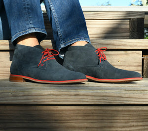 HIPPY CHIC BOOTS -  NAVY BLUE AND RED