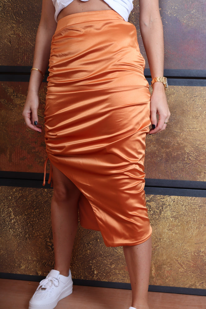 Burnt Orange Silk Skirt - StudioMouthy