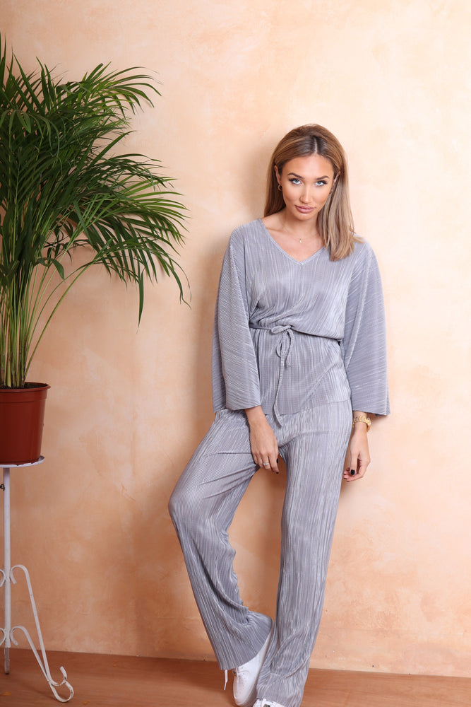 Grey Ribbed Tracksuit - StudioMouthy