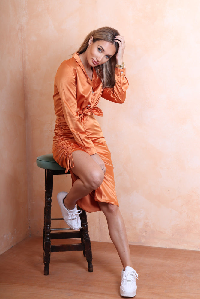 Burnt Orange Silk Top - StudioMouthy