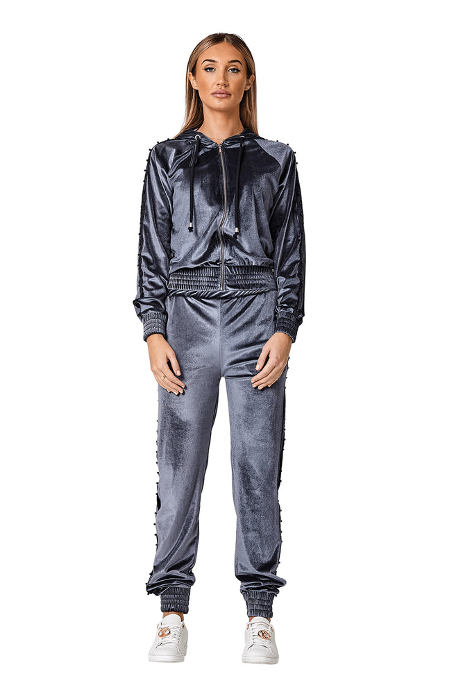 Grey Velour Tracksuit - StudioMouthy