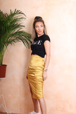 Gold Silk Skirt - StudioMouthy