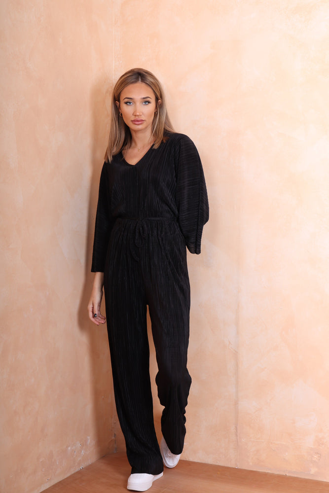 Black Ribbed Tracksuit - StudioMouthy