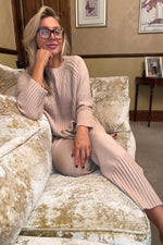 Ribbed knit lounge wear beige