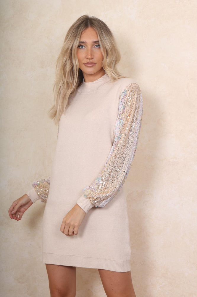 Knitted Vanilla Jumper Dress - StudioMouthy