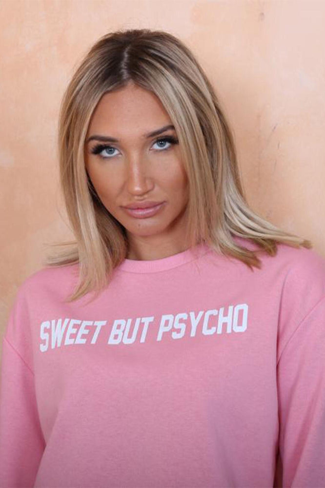 Pink Sweet But Psycho Sweatshirt - StudioMouthy