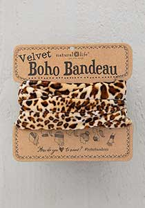 Natural Life Velvet Boho Bandeau Brown Leopard