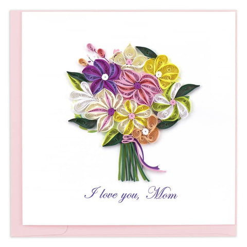 Quilling Card I Love You Mom Bouquet