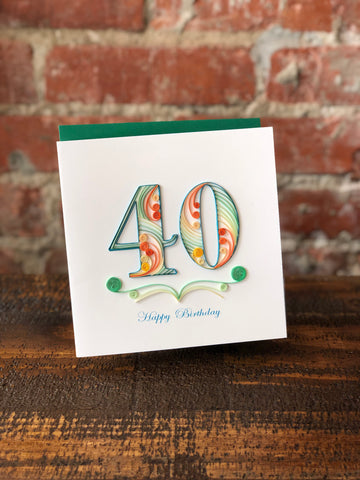 40th Birthday Quilling Card, Quilling Card - The Olive Branch