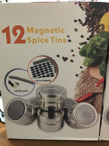 12 Magnetic Spice Tins