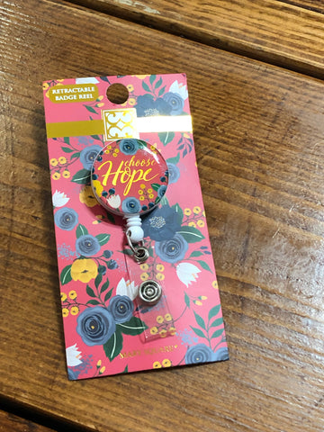 Mary Square Retractable Badge Reel Choose Hope