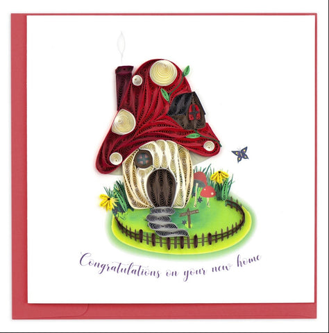 Quilling Card Toadstool Home