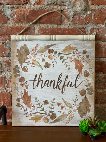 Watercolor Leaf/Acorn Wall Hanging Thankful