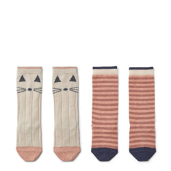 Pack de 2 chaussettes - Chat rose / Rayures