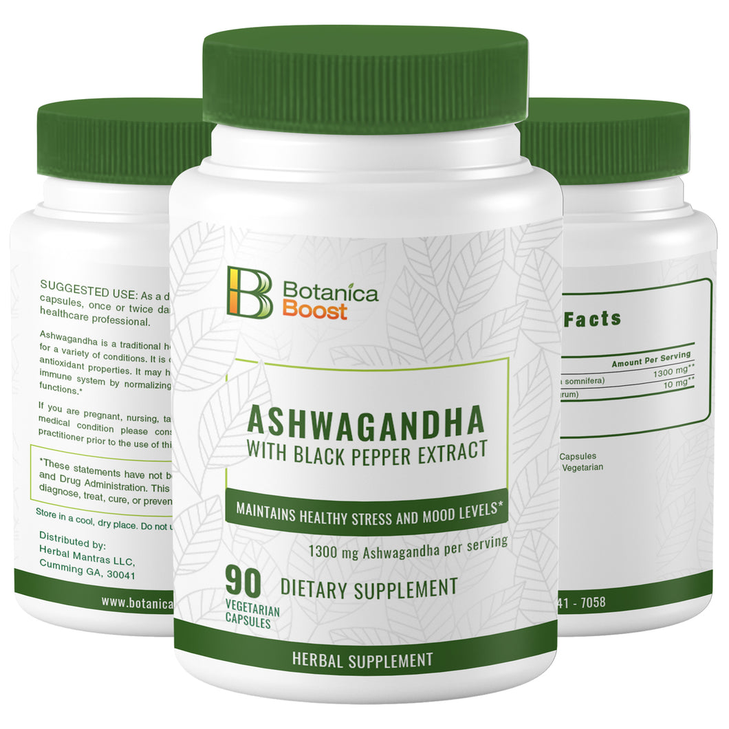 Ashwagandha Natural Root Powder Extract Supplement Capsules (90 Count)