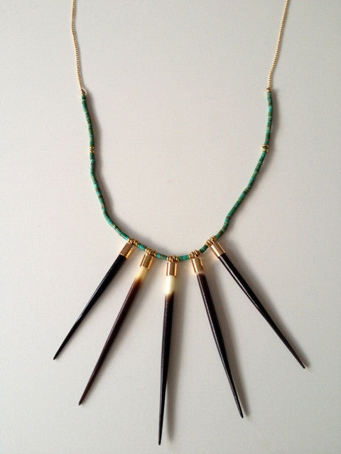 Beaded African Five Quill Necklace