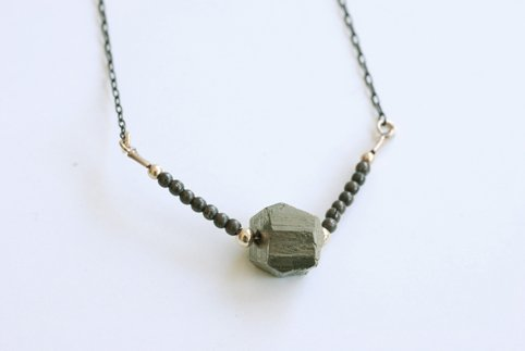 Beaded Pyrite Necklace